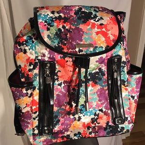 Nine West bright floral backpack with patent trim